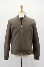 .NWT$6645 Brunello Cucinelli Mens Leather Cashmere Knit Fur Bomber Jacket Size M