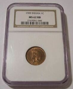 1909-Indian-Head-Cent-MS62-RB-NGC