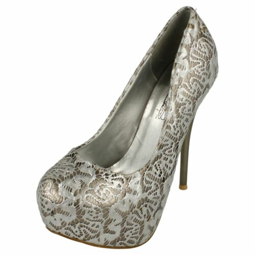 Ladies Spot On High Heel Covered Platform Court Shoe with /'Overlay Design/'
