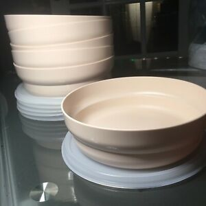 TUPPERWARE-NEW-VINTAGE-SET-6-CEREAL-SALAD-BOWLS-ALMOND-2415-W-SEALS