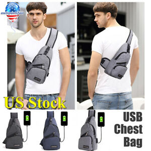 Polyester-Small-Sling-Bags-USB-Charging-Chest-Pack-Shoudler-Bag-Travel-Backpack