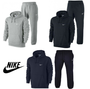 Nike Men's Full Tracksuit Fleece Hoodie & Joggers Navy ...