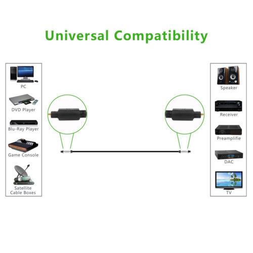 3FT 6FT 10FT 12FT Digital Fiber Optic Audio Cable Cord For Soundbar /&TV 2-pack