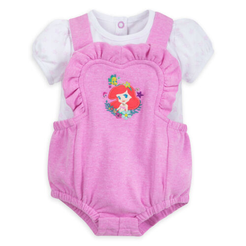 DISNEY STORE ARIEL ROMPER SET STAR-PATTERNED BODYSUIT /& RUFFLE-TRIMMED OVERALL