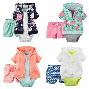 62c5c743d NWT Carters Baby Girl 3-pc Summer Shorts Sets Cardigan Hoodie Jacket ...