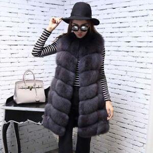 Long Luxury Gilet Women's Slim Vest Overcoat 3color Winter Outwear Fur Coat Warm w4xUtqZwnX