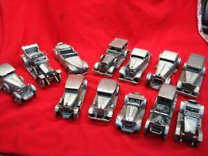 DANBURY-MINT-PEWTER-ANTIQUE-CARS-OF-THE-WORLD-GROUP-OF-12-DIFF-NICE