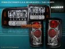 2000 - 2004 FORD EXCURSION BLACK LED HEADLIGHTS AND SMOKE TAIL LIGHTS COMBO NEW