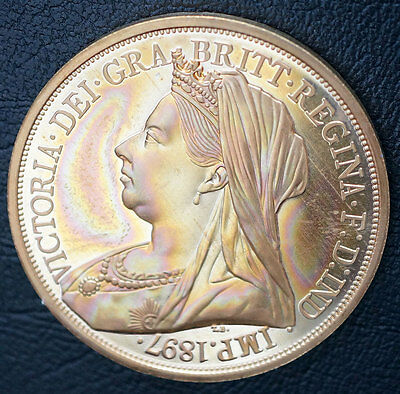 1897 UK Retro Pattern Proof Crown Golden Alloy Queen Victoria Coin