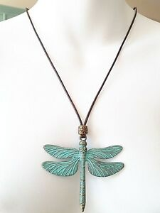 3-034-Patina-Brass-Dragonfly-charm-Pendant-Wax-Rope-handmade-adjustable-necklace