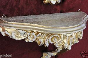 Vintage-Console-Murale-Gold-Weiss-Tablette-de-Miroir-Antique-Baroque-Etageres