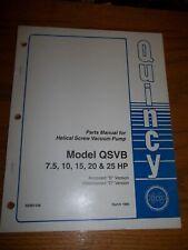 Quincy Helical Screw Vacuum Pump Parts Manual Model Qsvb 75 10 15 20 Amp25hp