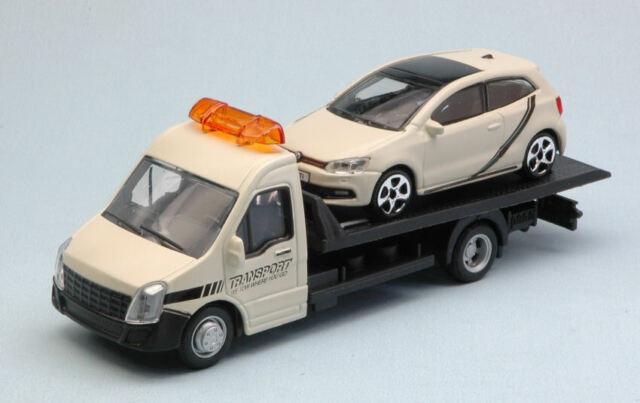 Vw polo gti mark 5 + flatbed transporter 1:43 auto stradali scala burago