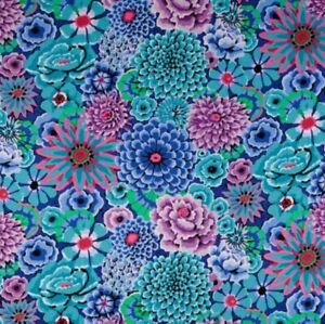 Free-Spirit-Kaffe-Fassett-Enchanted-Floral-PWGP172-Blue-Cotton-Fabric-BTY