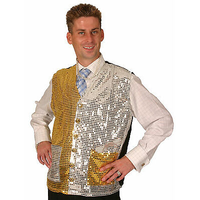 WAISTCOAT SEQUIN GOLD SILVER - FANCY DRESS DISCO JOCKEY XMAS 70S HALLOWEEN ADULT