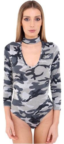 New Ladies Long Sleeve Choker V Neck Army Leopard Tartan Print Bodysuits S-L