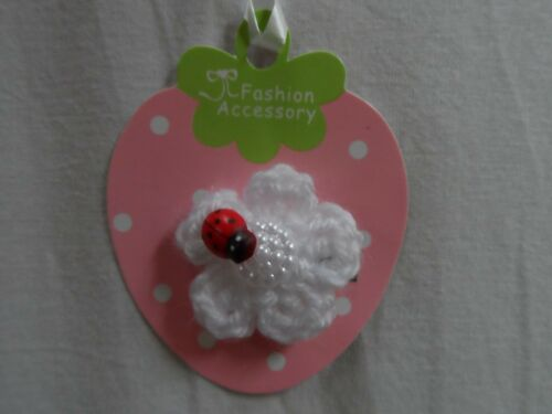 baby//girls hair clip snap clip croc clips barretts slides,white flowers,ladybird