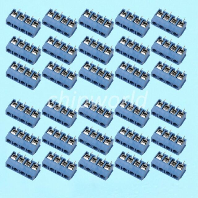 30PCS Blue KF301 4P 5.08mm Connect Terminal Blue Screw Terminal Connector
