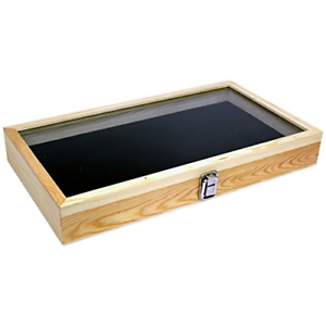 Natural-Wood-Glass-Top-Lid-Black-Pad-Display-Box-Case-Medals-Awards-Jewelry-Knif