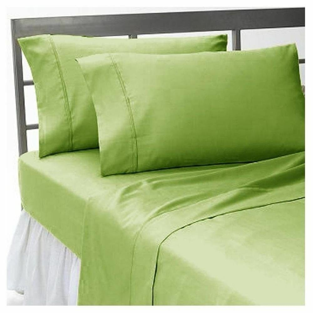 1 Fitted Sheet & 2 Pillow case Sage Solid 100% Pima Cotton 1000 TC_