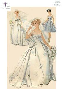 Abiti Da Sposa 1950.Vintage Anni 1950 Sewing Pattern Romantico Abito Da Sposa Abito Da