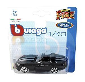 Burago-1-43-Diecast-Modelo-Coche-Dodge-Viper-Convertible-en-Negro-039-STREET-fuego