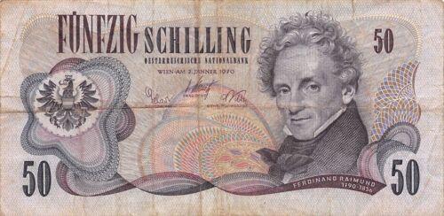 Austria 50/- 2.1.1970 P 143a circulated Banknote , A 7