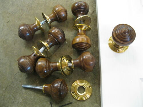 Pair of Victorian Edwardian Reproduction Rosewood Reeded Door Knobs /& Roses RES2