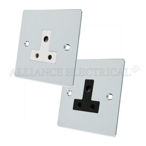 Chrome poli plat round pin 5 amp / 2 AMP support 1 Gang unswitched outlet