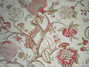 Details about Scalamandre Curtain Fabric PONDICHERRY 2 0m Turkey Red/Lime  Cotton Design 200cm