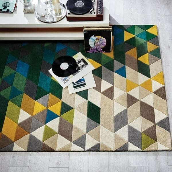 Modern illusione PRISMA verde   multi Coloreeee fatti a mano lana Tappetini 80x150cm