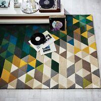 Modern Illusion Prism Green / Multi Colour Handmade Wool Rugs 120x170cm