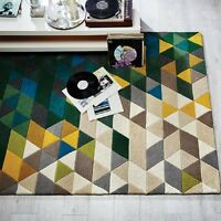 Modern Illusion Prism Green / Multi Colour Handmade Wool Rugs 120x170cm