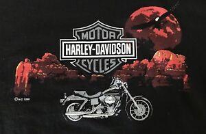 Vintage-90s-Harley-Davidson-Eagle-Sunset-T-Shirt-Size-Large-Cancun-Mexico