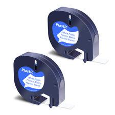 2pk Black On White Refill Plastic Label Tape For Dymo Letratag Lt100h 91331 12