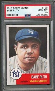 Babe Ruth New York Yankees 2018 Topps Living Baseball Card #100 Graded PSA 10