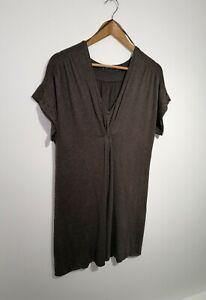 Mint-Velvet-Uk-18-Brown-Knitted-Tunic-Length-Jumper-Short-Sleeve-V-neck