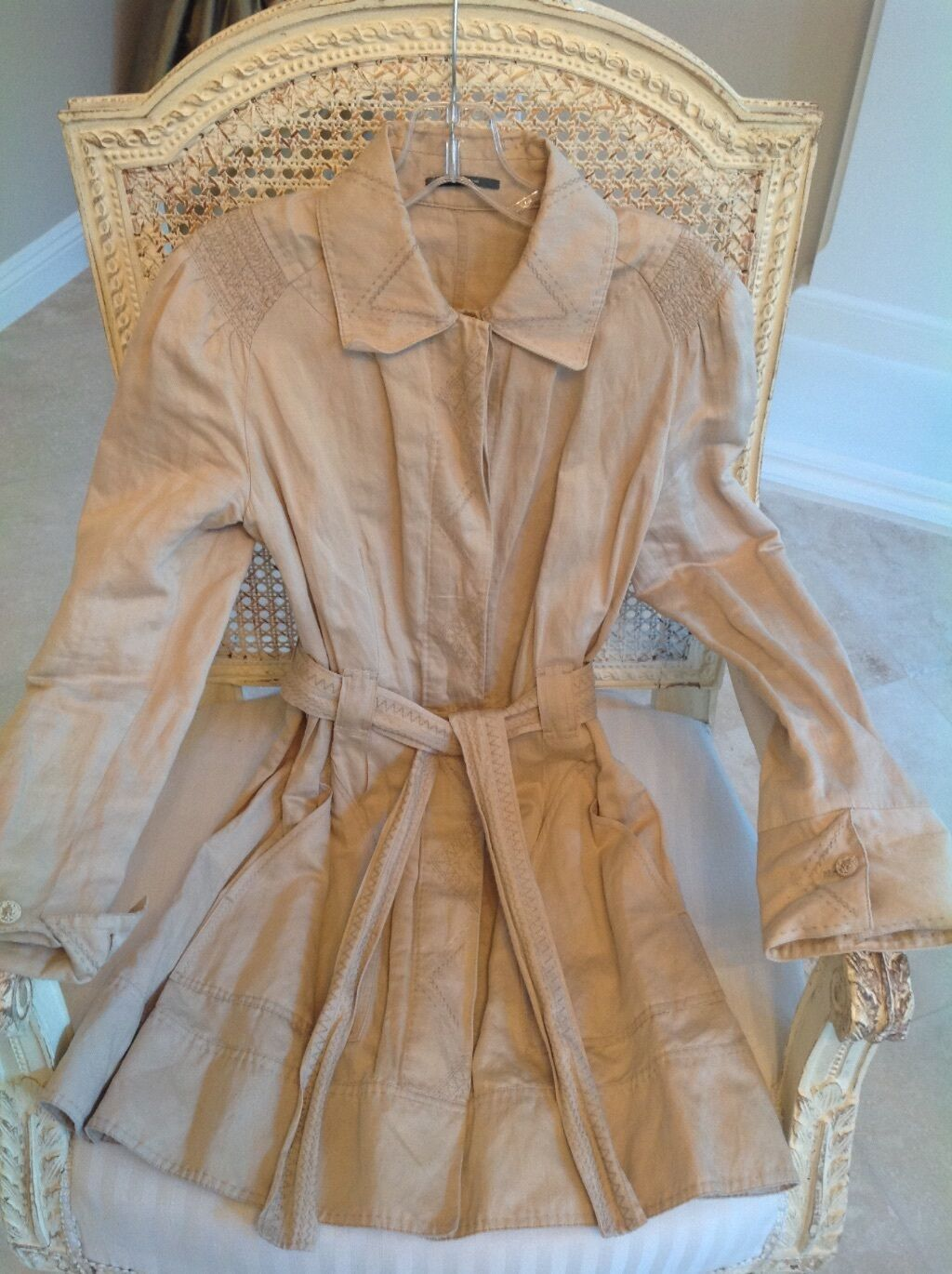 Elie Tahari BEIGE BEIGE BEIGE EMBROIDERED TRENCH COAT, Size S P 9a8a25