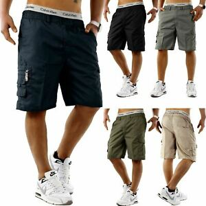 Mens-Cargo-Shorts-Elasticated-Waist-Casual-Cotton-Combat-Pants-M-L-XL-2XL-3XL