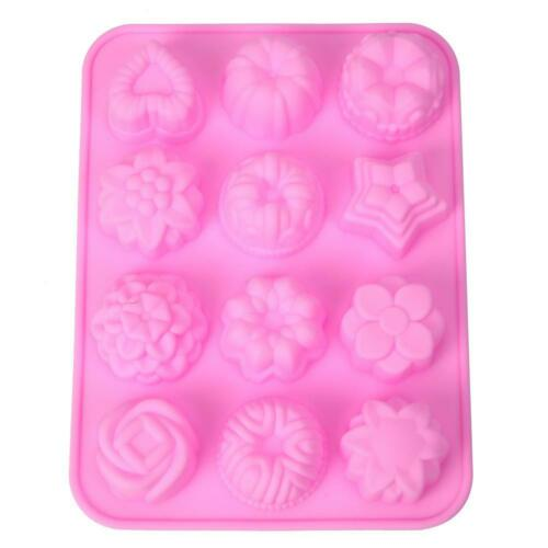 12 Shapes Silicone Mooncake Mold Handmade Soap Mould Cake Decorating Tools #8FR