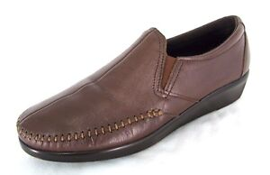 SAS-Loafer-Shoes-Sz-9S-Slim-Extra-Narrow-Womens-Brown-Leather-Slip-Ons-9-S-AAA