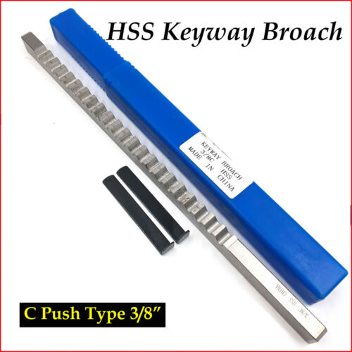 3/8 Inch HSS Keyway Broach C Push Type Keyway Cutter & Shim Metalworking Tool