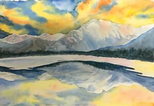 034-Reflection-034-Original-watercolor-painting-7x10-nature-landscape-glacier-mountain
