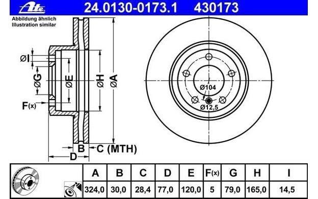 ATE Juego de 2 discos freno Antes 324mm ventilado para BMW Serie 5