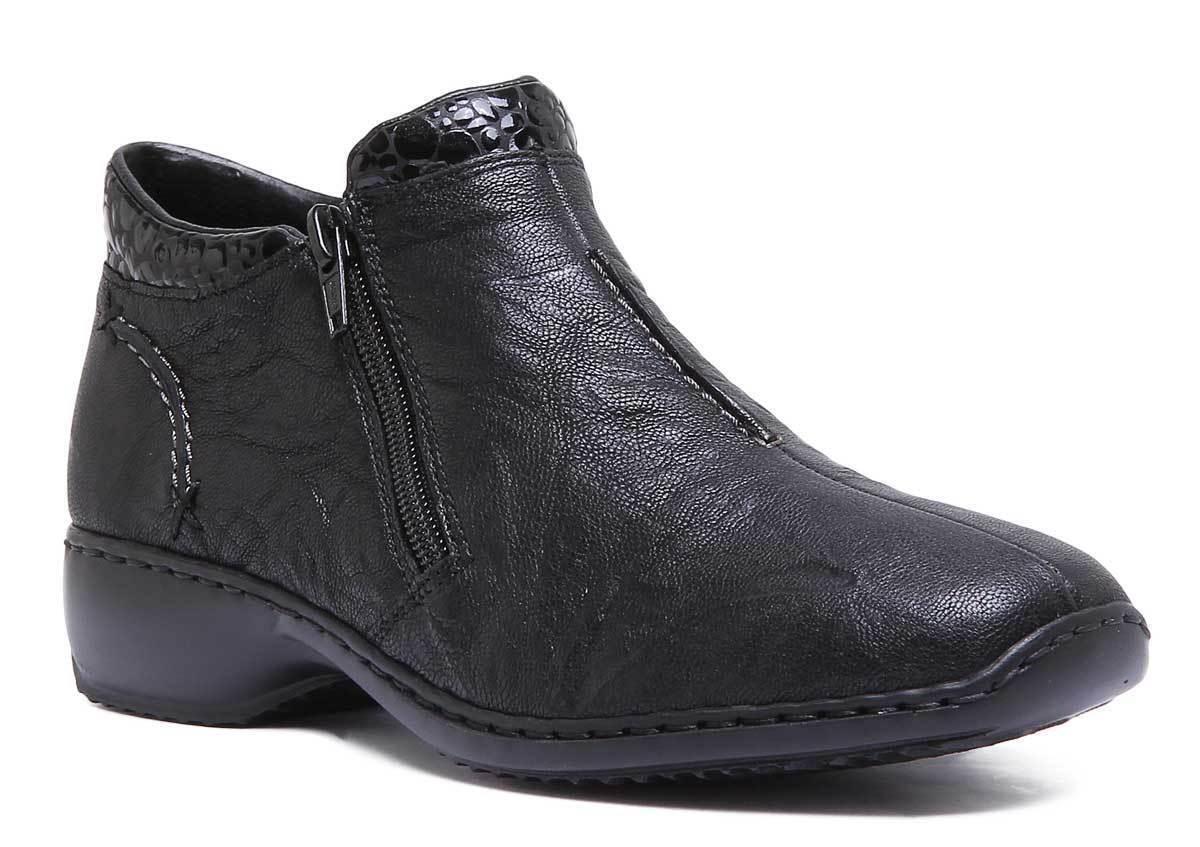 Rieker Zapato De Cuero Negro para Mujer L3882 botas TALLA UK 3 - 8