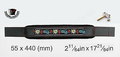 ACCORDION BASS STRAP FOLK Black Leather Velvet 540x80 With Hardware Included