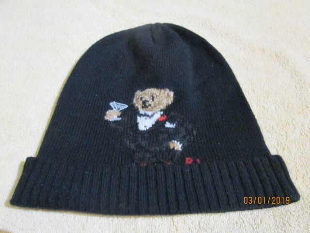 93b3704df2b Ralph Lauren Polo Bear Martini Beanie Ski Hat Black Cashmere   Wool ...