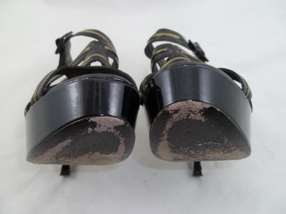 ANDREW GN GN GN USED 37 DARK BROWN PATENT LEATHER STRAPPY CAGED HEELS PUMPS STILETTOS 0b1e93