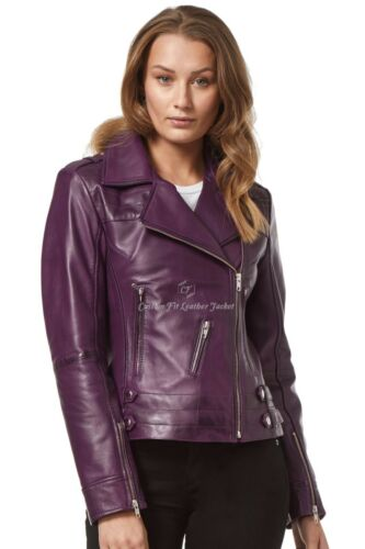Napa Washed donna Motorcycle da Giacca 5816 pelle Purple Real 100 Style Biker in wyHAqPqX