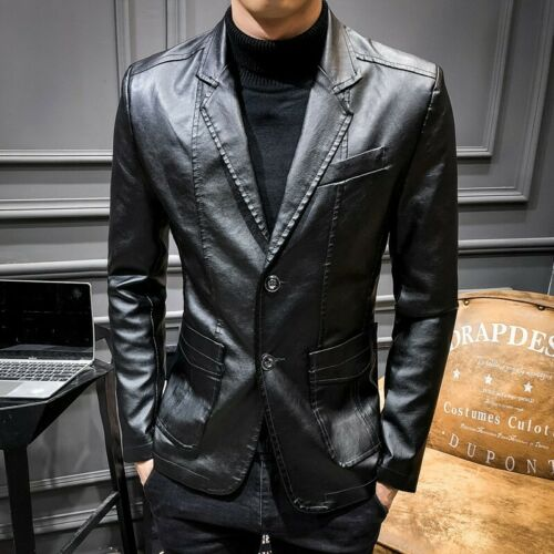 Men/'s Leather Jacket Slim Fit Two Button Blazer Business Lapel Coat Casual Party
